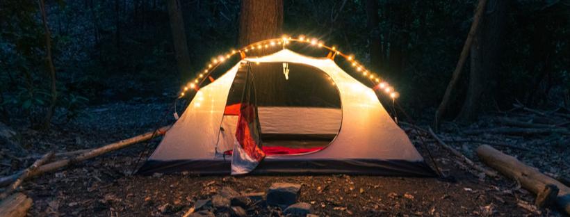 Holiday lights on tent