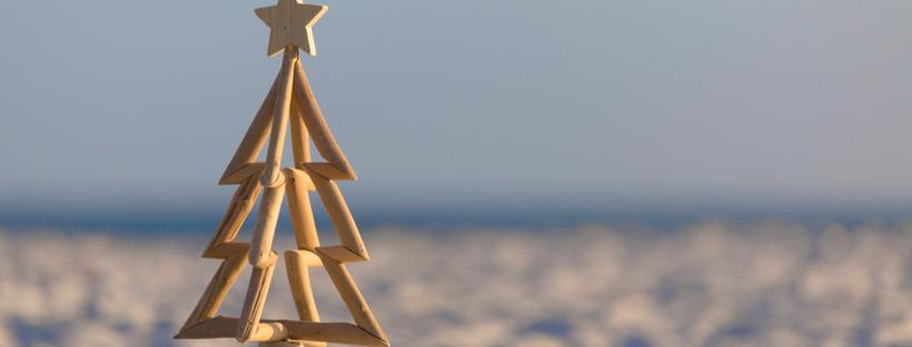 Christmas tree on a sunny beach